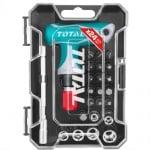 Комплект отвертка с Т-дръжка-тресчотка и битове, TOTAL, 24 части