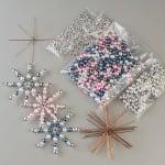 Креативен комплект за направата на звезда от перли, Ø 10 cm, 10 броя, сребърни/ разноцветни