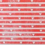 Варио картон, 250 g/m2, А4, 1л, Райета със сърца, червени