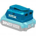 USB-A зарядно устройство TOTAL, Li-Ion, 2 изхода
